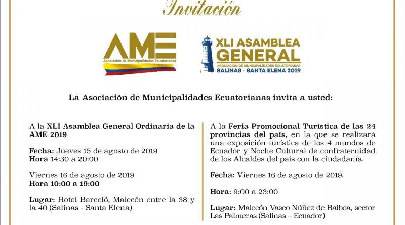 XLI Asamblea General Ordinaria de la AME se realizará en Salinas