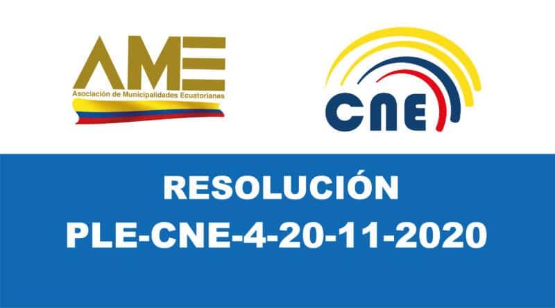 Resolución PLE-CNE-4-20-11-2020